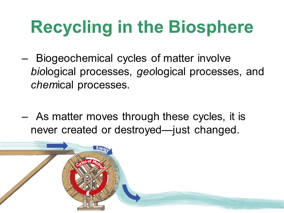 Recycling in the Biosphere –Biogeochemical cycles of matter involve biological processes, geological processes, and chemical processes. –As matter mov