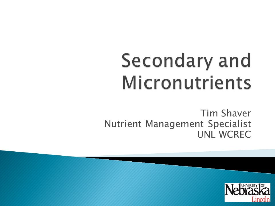 Tim Shaver Nutrient Management Specialist UNL WCREC