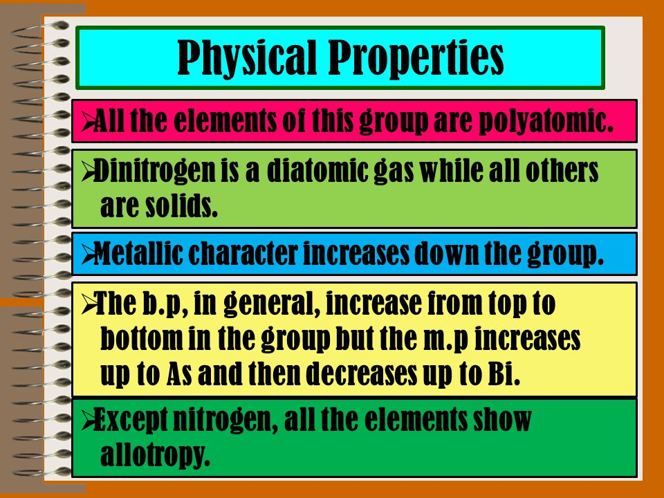 Physical Properties  All the elements of this group are polyatomic.  Dinitrogen is a diatomic gas while all others are solids.  Metallic character
