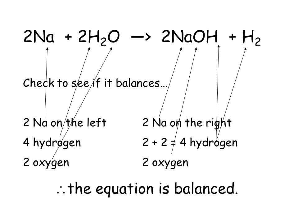 _Na + _H 2 O —> 2NaOH + _H 2 Now lets balance sodium; we need a 2 in front of the Na… 2Na + _H 2 O —> 2NaOH + _H 2 Now consider hydrogen… 2Na + 2H 2 O —> 2NaOH + H 2
