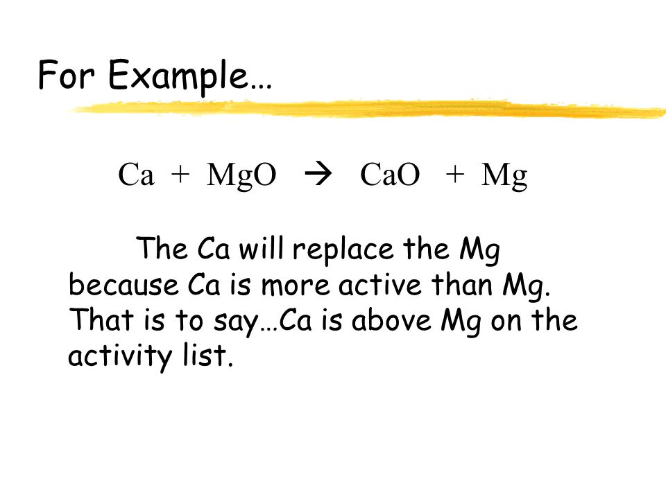Li K Ca Na Mg Al Zn Fe Pb (H)* Cu Hg Ag Increasing Activity Any element will replace any element below it.