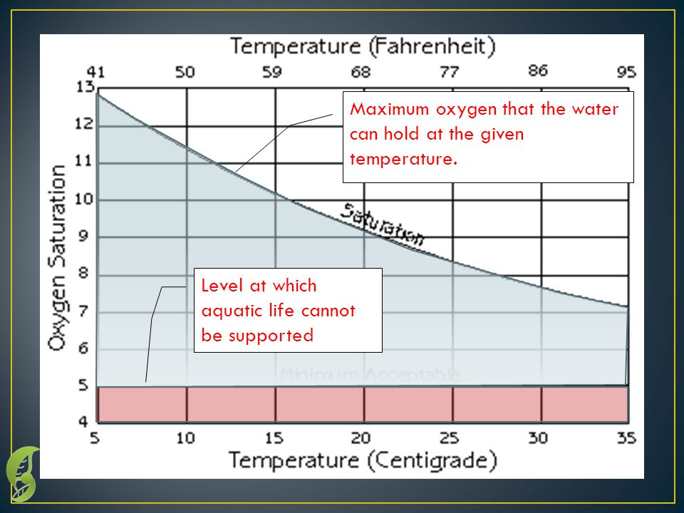 The temperature determines the maximum oxygen that water can hold.
