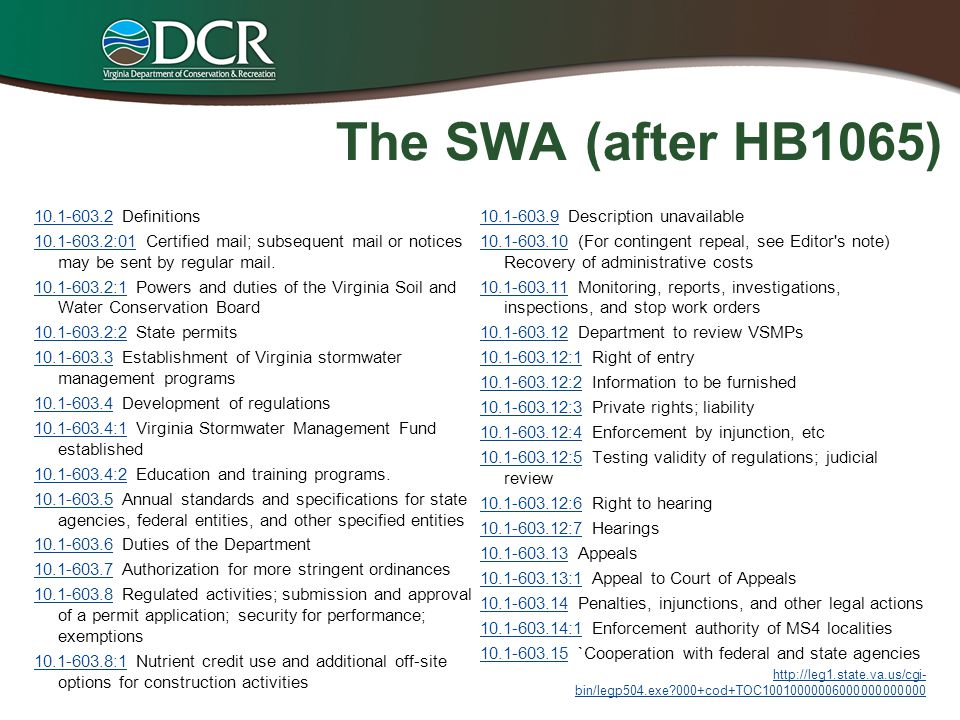 The SWA (after HB1065) 10.1-603.210.1-603.2 Definitions 10.1-603.2:0110.1-603.2:01 Certified mail; subsequent mail or notices may be sent by regular m
