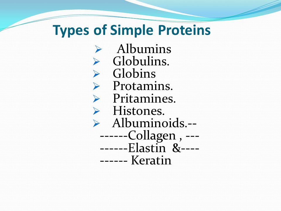 Types of Simple Proteins  Albumins  Globulins. Globins  Protamins.