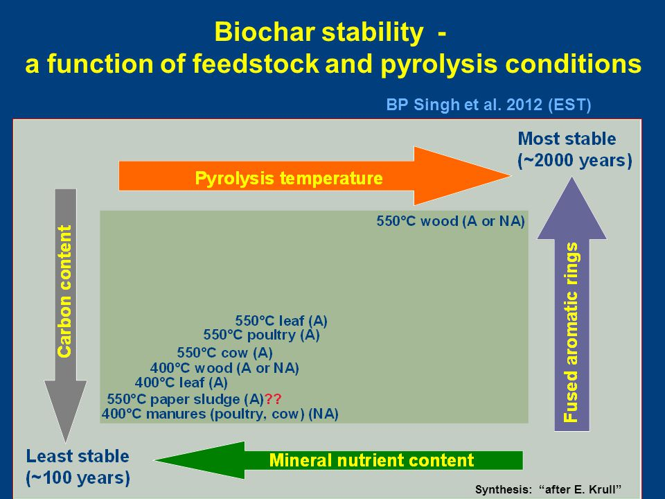 "Biochar stability - a function of feedstock and pyrolysis conditions Synthesis: ""after E. Krull"" BP Singh et al. 2012 (EST)"