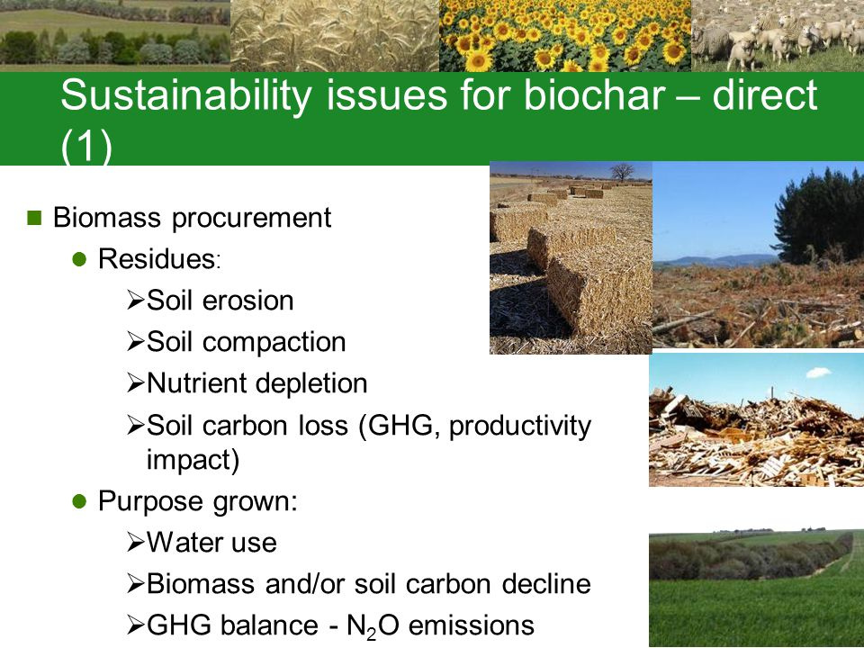 Sustainability issues for biochar – direct (1) Biomass procurement Residues :  Soil erosion  Soil compaction  Nutrient depletion  Soil carbon loss (GHG, productivity impact) Purpose grown:  Water use  Biomass and/or soil carbon decline  GHG balance - N 2 O emissions
