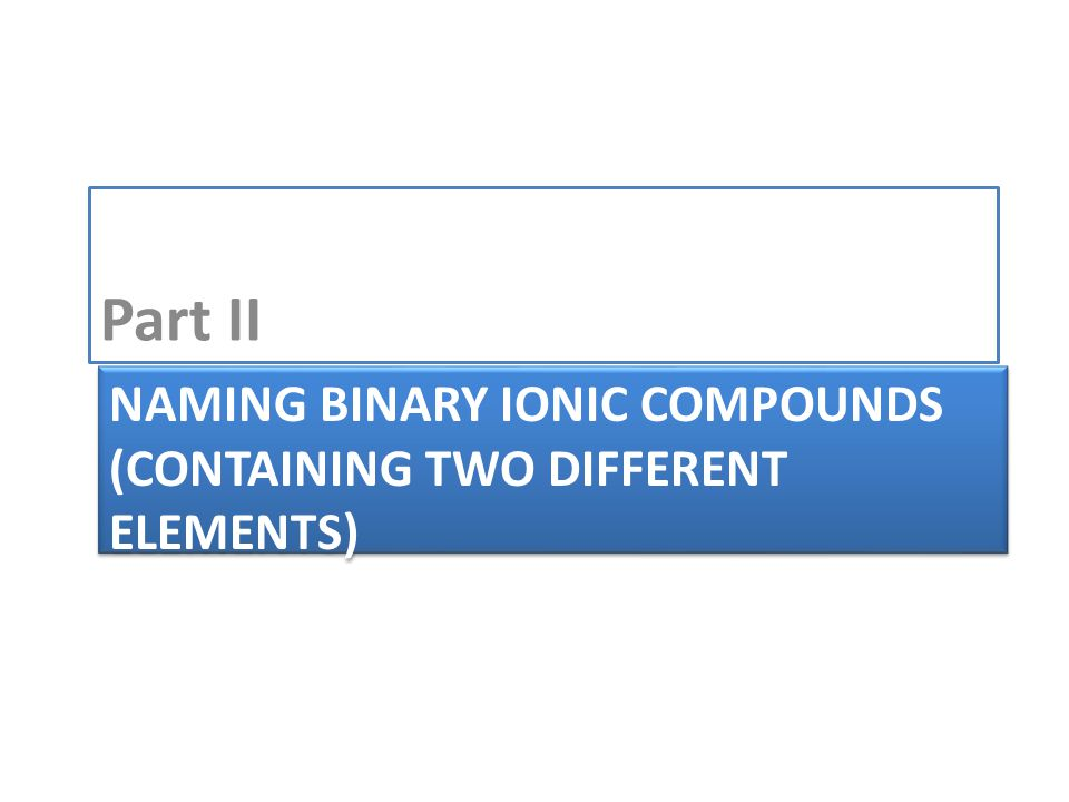 NAMING BINARY IONIC COMPOUNDS (CONTAINING TWO DIFFERENT ELEMENTS) Part II