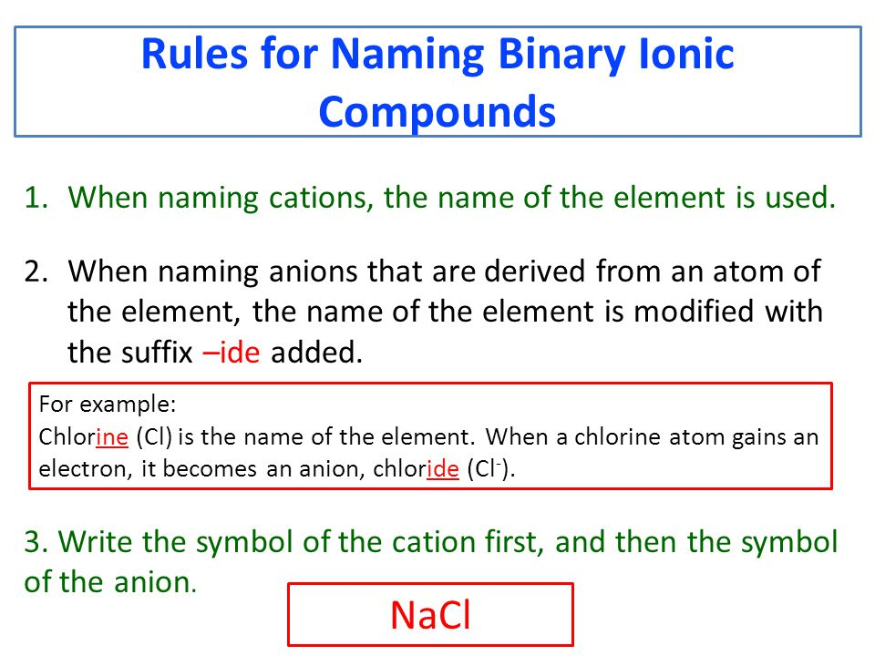 Rules for Naming Binary Ionic Compounds 1.When naming cations, the name of the element is used.