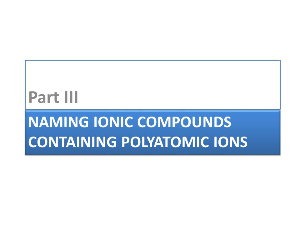 NAMING IONIC COMPOUNDS CONTAINING POLYATOMIC IONS Part III
