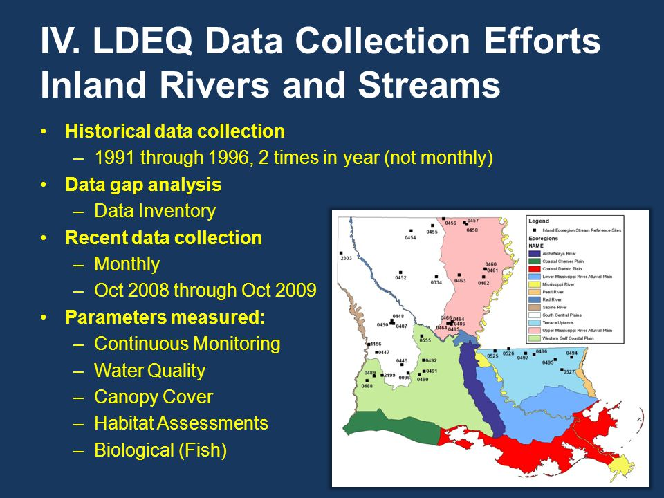 IV. LDEQ Data Collection Efforts Inland Rivers and Streams Historical data collection –1991 through 1996, 2 times in year (not monthly) Data gap analy
