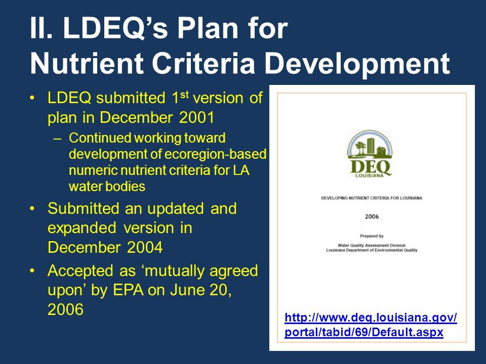 II. LDEQ's Plan for Nutrient Criteria Development LDEQ submitted 1 st version of plan in December 2001 –Continued working toward development of ecoreg
