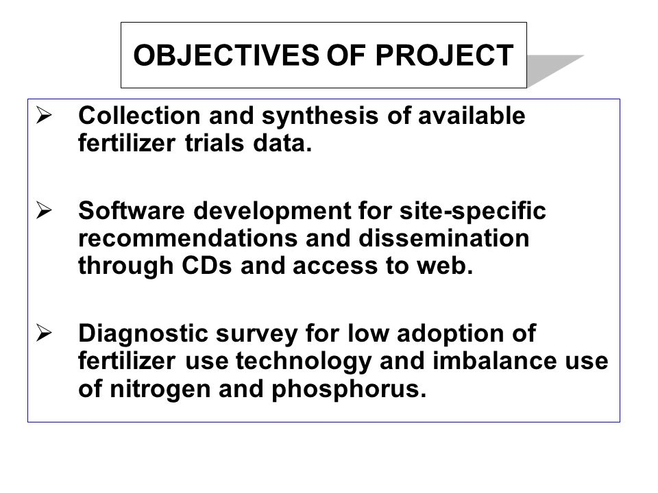 OBJECTIVES OF PROJECT  Collection and synthesis of available fertilizer trials data.
