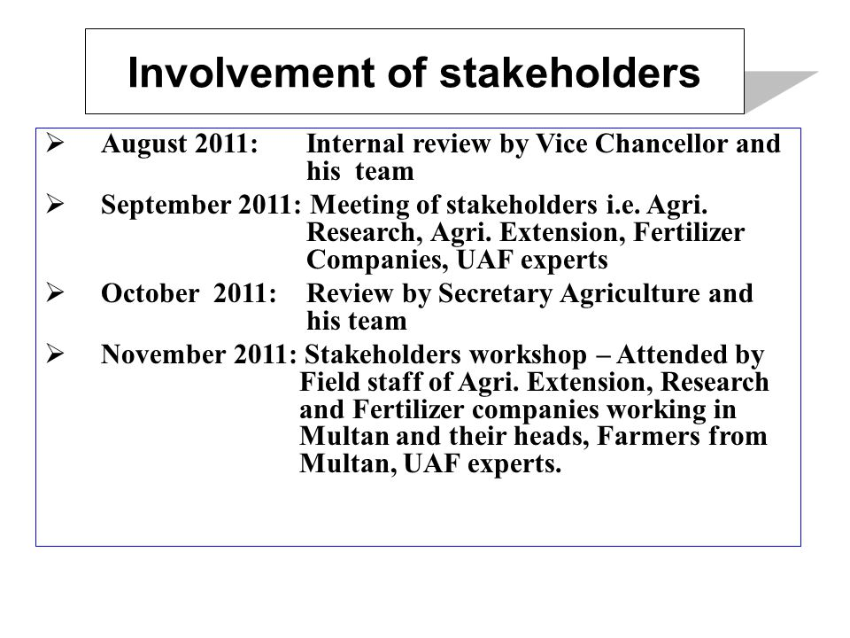 Involvement of stakeholders  August 2011: Internal review by Vice Chancellor and his team  September 2011: Meeting of stakeholders i.e.