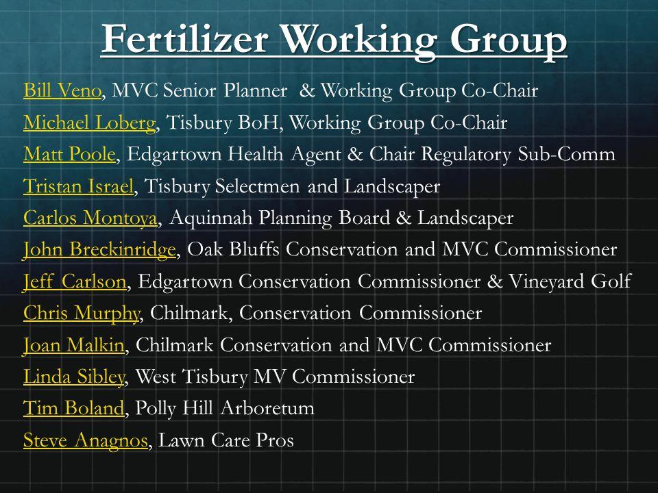 Fertilizer Working Group Bill Veno, MVC Senior Planner & Working Group Co-Chair Michael Loberg, Tisbury BoH, Working Group Co-Chair Matt Poole, Edgart