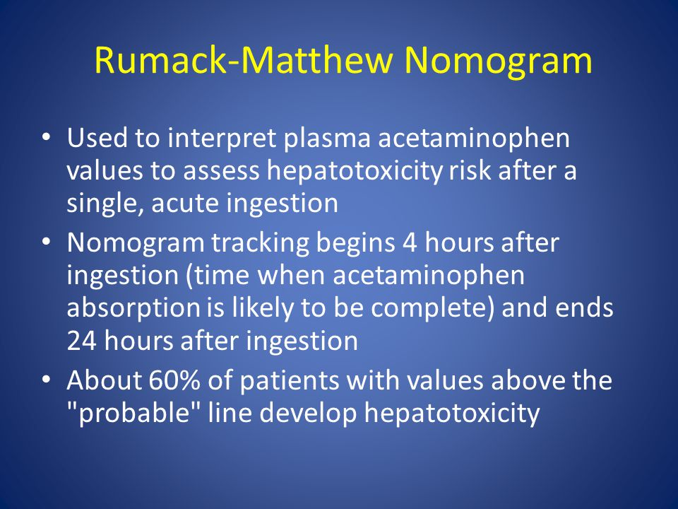 Rumack-Matthew Nomogram Used to interpret plasma acetaminophen values to assess hepatotoxicity risk after a single, acute ingestion Nomogram tracking