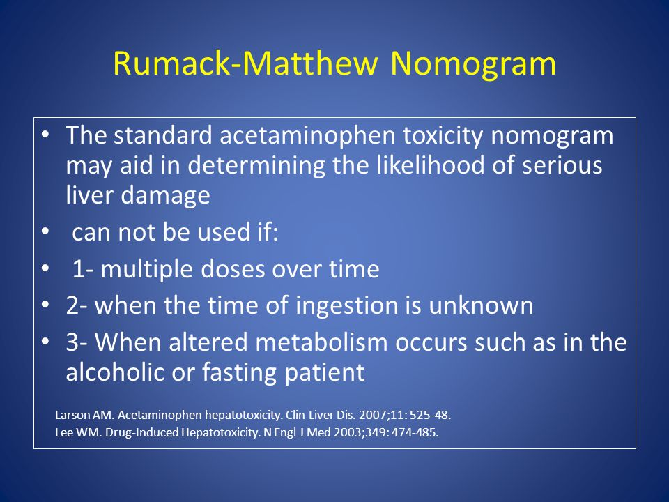 Rumack-Matthew Nomogram The standard acetaminophen toxicity nomogram may aid in determining the likelihood of serious liver damage can not be used if: