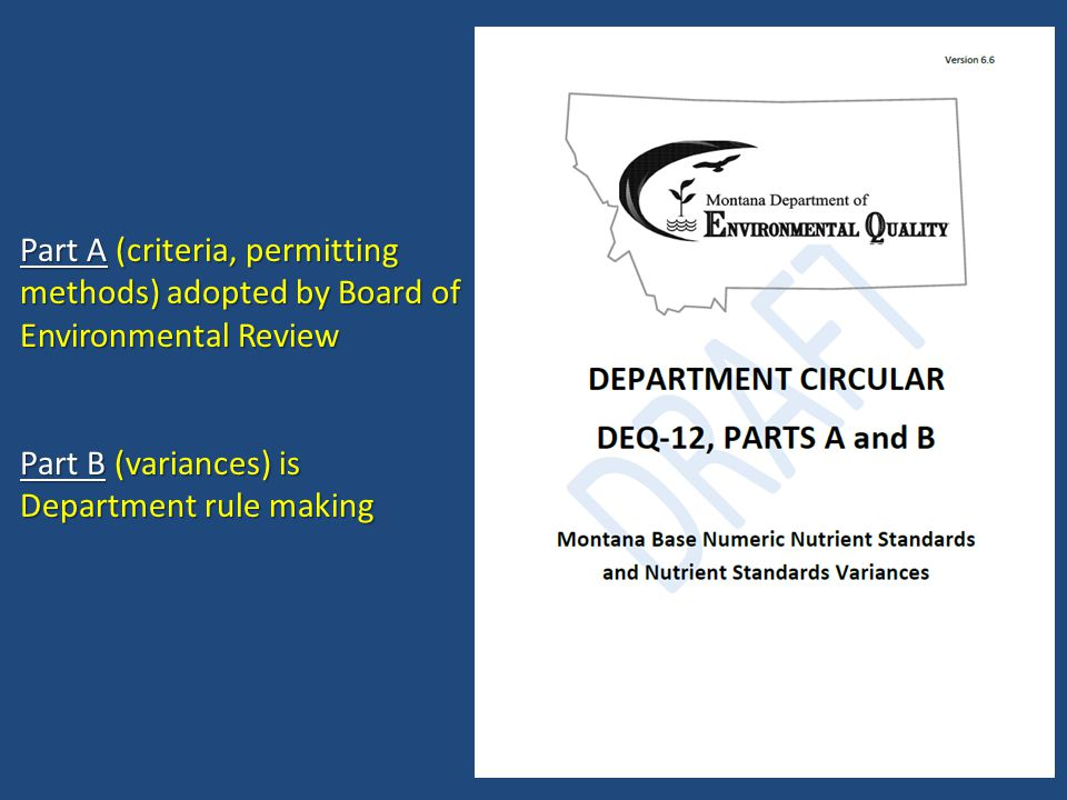 Part A (criteria, permitting methods) adopted by Board of Environmental Review Part B (variances) is Department rule making