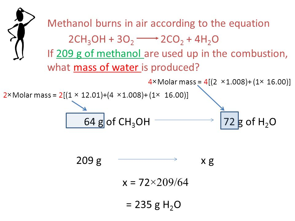 Methanol burns in air according to the equation 2CH 3 OH + 3O 2 2CO 2 + 4H 2 O If 209 g of methanol are used up in the combustion, what mass of water is produced.