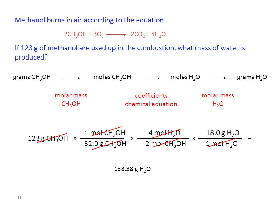 41 Methanol burns in air according to the equation 2CH 3 OH + 3O 2 2CO 2 + 4H 2 O If 123 g of methanol are used up in the combustion, what mass of water is produced.