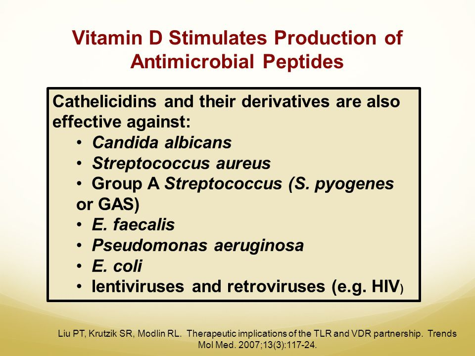 Vitamin D Stimulates Production of Antimicrobial Peptides Liu PT, Krutzik SR, Modlin RL. Therapeutic implications of the TLR and VDR partnership. Tren