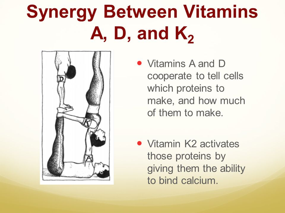 Synergy Between Vitamins A, D, and K 2 Vitamins A and D cooperate to tell cells which proteins to make, and how much of them to make. Vitamin K2 activ