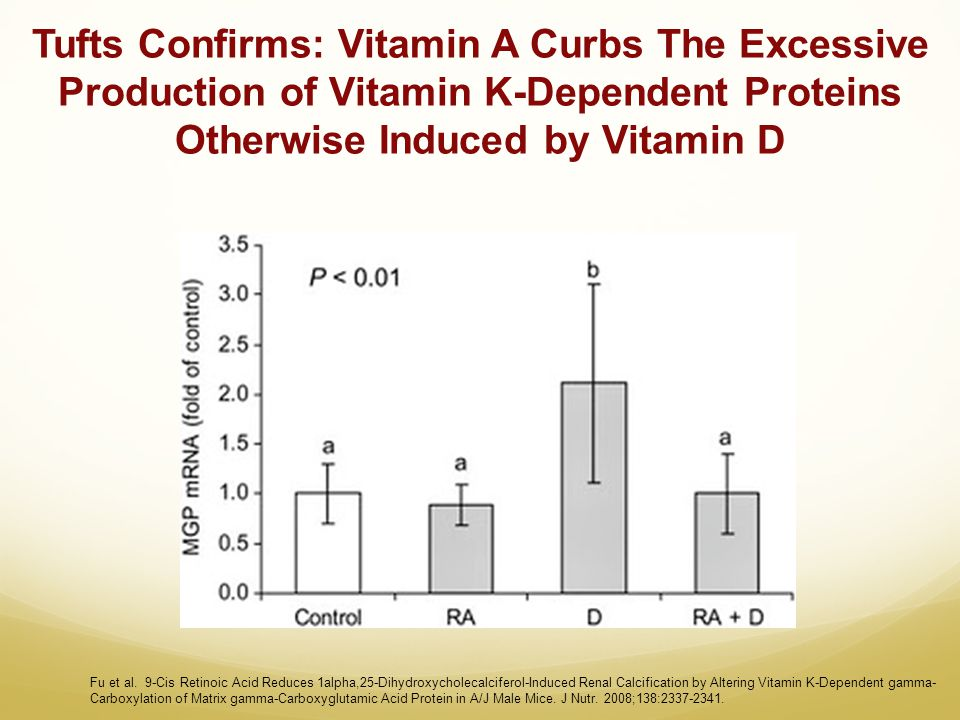 Tufts Confirms: Vitamin A Curbs The Excessive Production of Vitamin K-Dependent Proteins Otherwise Induced by Vitamin D Fu et al. 9-Cis Retinoic Acid