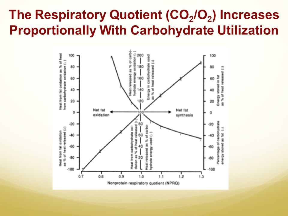 The Respiratory Quotient (CO 2 /O 2 ) Increases Proportionally With Carbohydrate Utilization