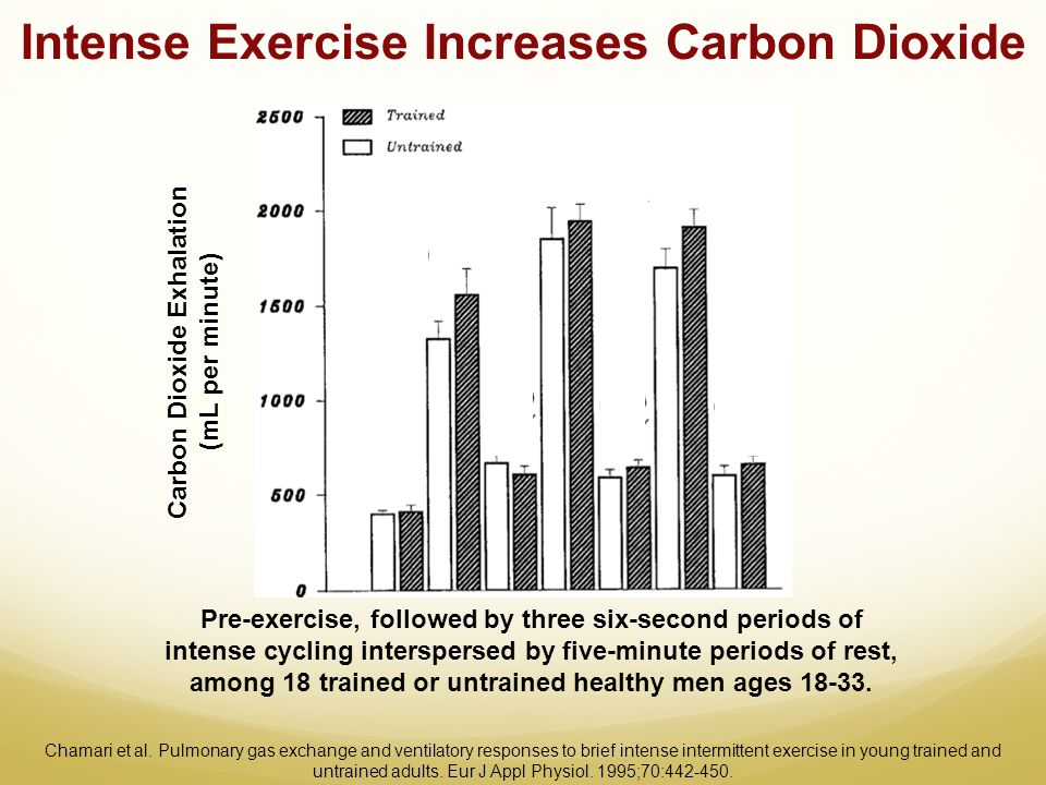 Intense Exercise Increases Carbon Dioxide Carbon Dioxide Exhalation (mL per minute) Pre-exercise, followed by three six-second periods of intense cycl