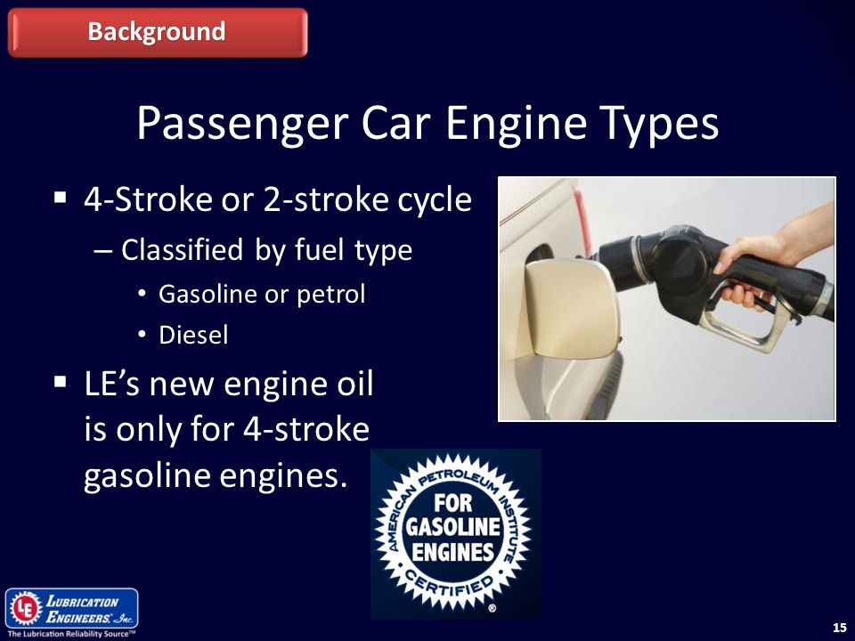 15 Passenger Car Engine Types  4-Stroke or 2-stroke cycle – Classified by fuel type Gasoline or petrol Diesel  LE's new engine oil is only for 4-str
