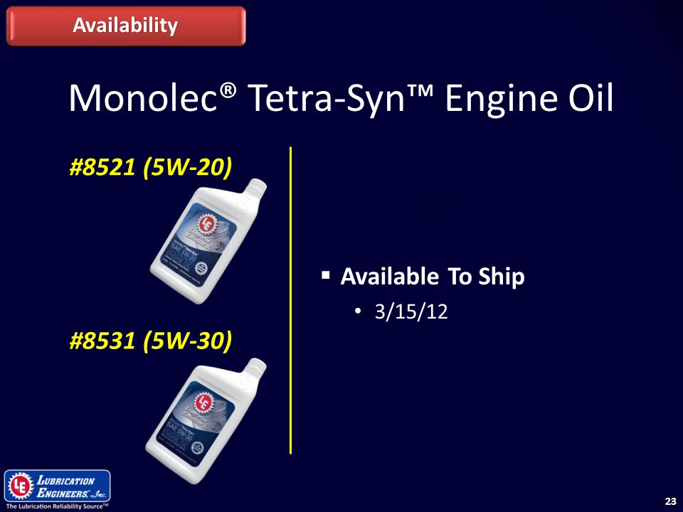 23 Monolec® Tetra-Syn™ Engine Oil Availability #8521 (5W-20) #8531 (5W-30)  Available To Ship 3/15/12