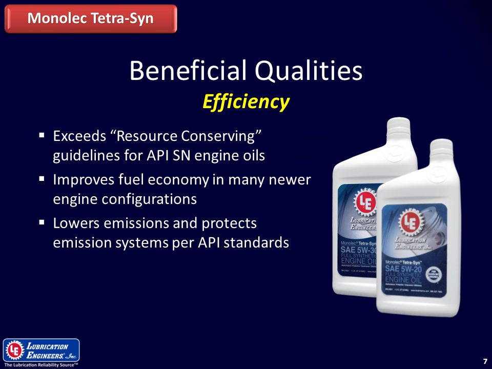"77  Exceeds ""Resource Conserving"" guidelines for API SN engine oils  Improves fuel economy in many newer engine configurations  Lowers emissions an"