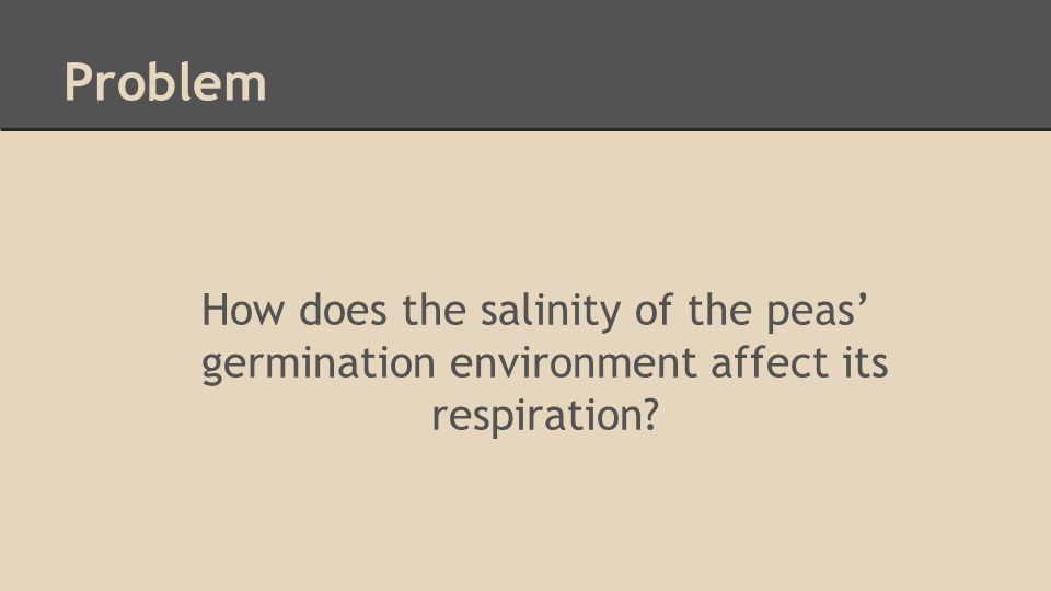 Problem How does the salinity of the peas' germination environment affect its respiration?