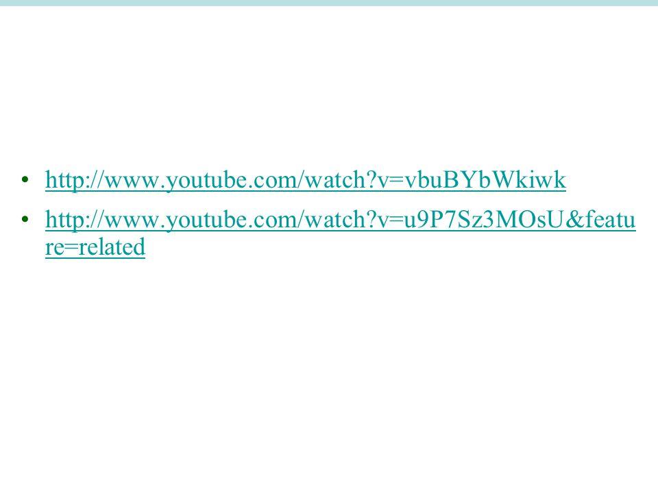 http://www.youtube.com/watch?v=vbuBYbWkiwk http://www.youtube.com/watch?v=u9P7Sz3MOsU&featu re=relatedhttp://www.youtube.com/watch?v=u9P7Sz3MOsU&featu