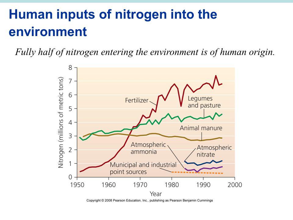 Human inputs of nitrogen into the environment Fully half of nitrogen entering the environment is of human origin.