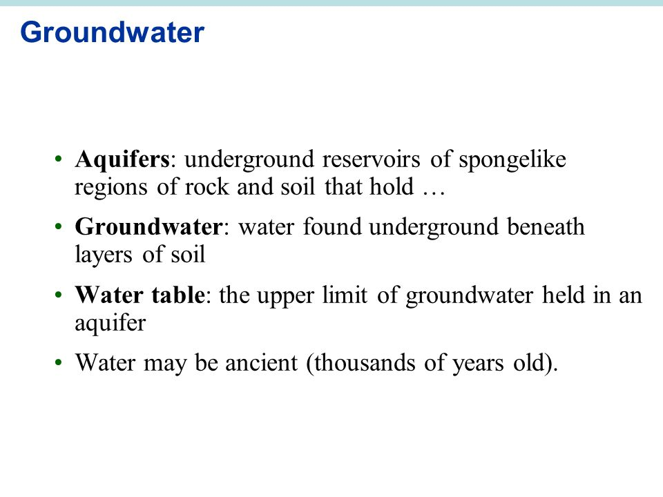 Groundwater Aquifers: underground reservoirs of spongelike regions of rock and soil that hold … Groundwater: water found underground beneath layers of