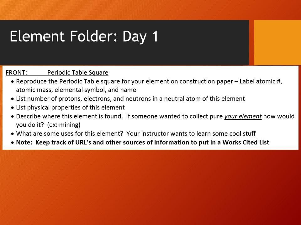Element Folder: Day 1