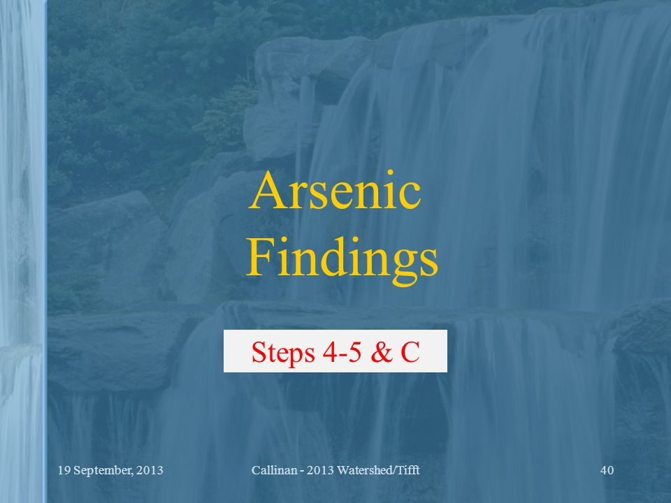 Initial Arsenic Findings Results indicate arsenic levels can become elevated in hypolimnetic waters of some eutrophic lakes and reservoirs in New York during growing season In general, it appears that arsenic is originating from natural sources, however, its enrichment in hypolimnion is likely due to DO depletion (in part due to cultural eutrophication), and reductive release.
