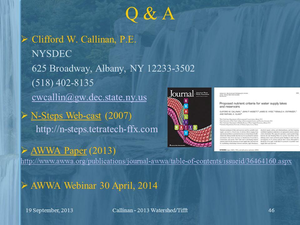 Q & A  Clifford W. Callinan, P.E.