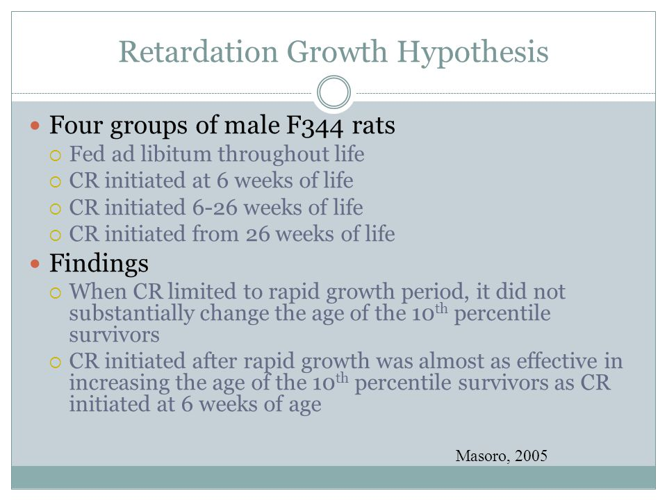 Retardation Growth Hypothesis Four groups of male F344 rats  Fed ad libitum throughout life  CR initiated at 6 weeks of life  CR initiated 6-26 wee