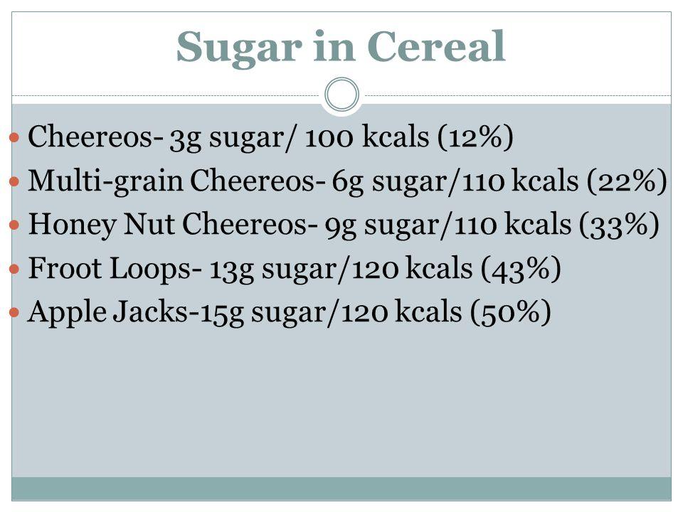 Sugar in Cereal Cheereos- 3g sugar/ 100 kcals (12%) Multi-grain Cheereos- 6g sugar/110 kcals (22%) Honey Nut Cheereos- 9g sugar/110 kcals (33%) Froot Loops- 13g sugar/120 kcals (43%) Apple Jacks-15g sugar/120 kcals (50%)