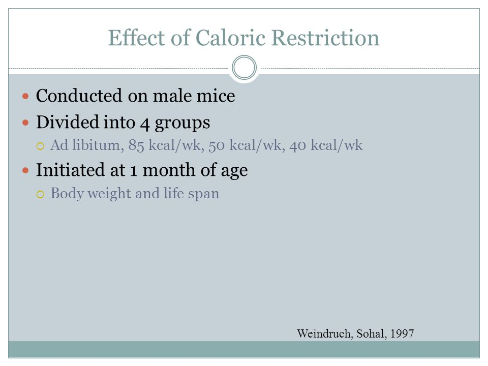 Effect of Caloric Restriction Conducted on male mice Divided into 4 groups  Ad libitum, 85 kcal/wk, 50 kcal/wk, 40 kcal/wk Initiated at 1 month of age  Body weight and life span Weindruch, Sohal, 1997
