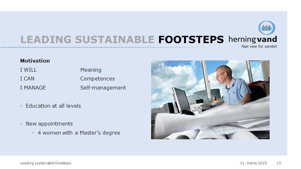 11. marts 2015Leading sustainable footsteps13 LEADING SUSTAINABLE FOOTSTEPS Motivation I WILLMeaning I CANCompetences I MANAGESelf-management -Educati