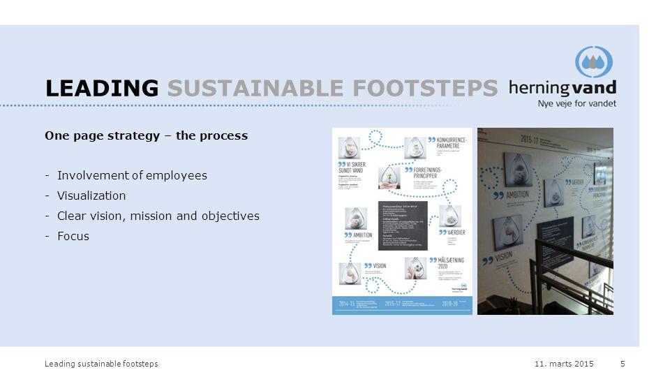 11. marts 2015Leading sustainable footsteps5 LEADING SUSTAINABLE FOOTSTEPS One page strategy – the process -Involvement of employees -Visualization -C