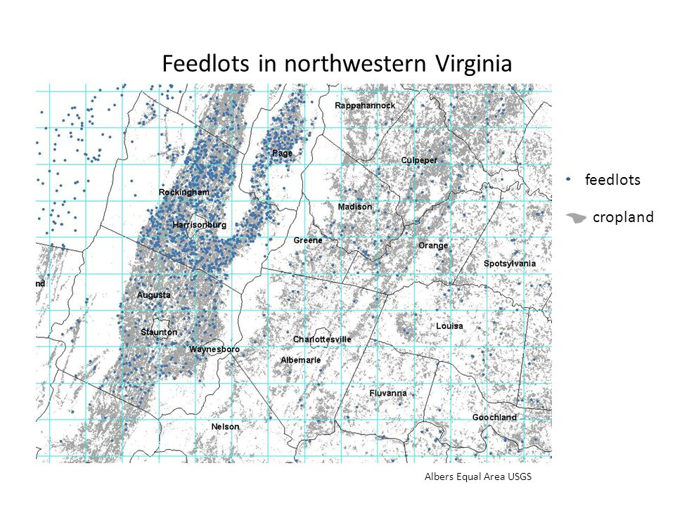 Feedlots in northwestern Virginia feedlots cropland Albers Equal Area USGS
