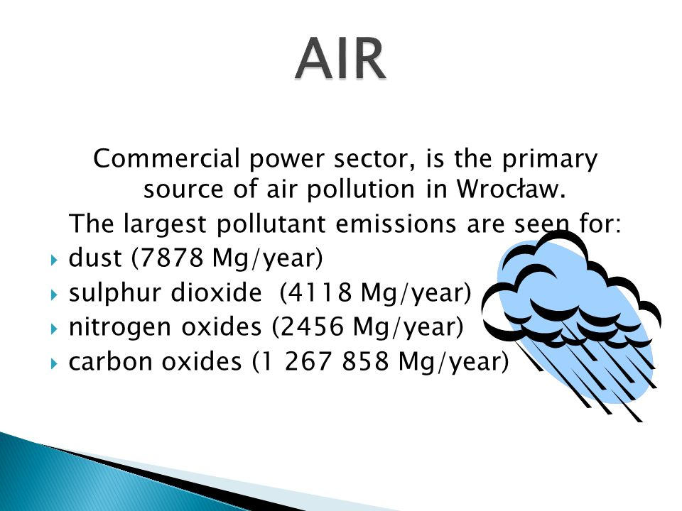 Commercial power sector, is the primary source of air pollution in Wrocław.