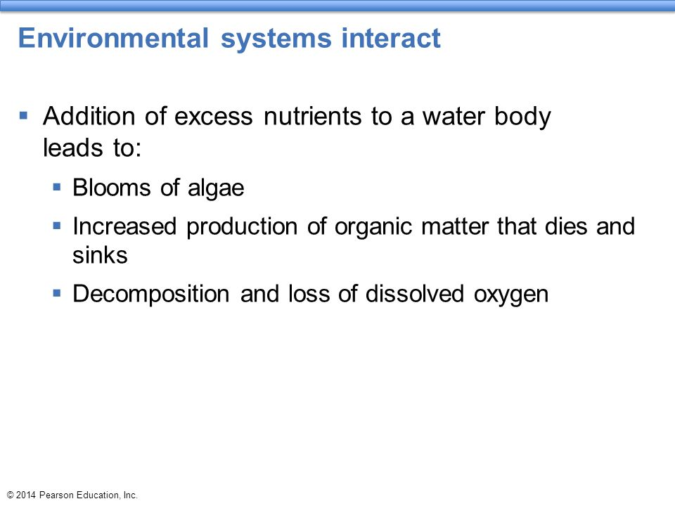© 2014 Pearson Education, Inc. Environmental systems interact  Addition of excess nutrients to a water body leads to:  Blooms of algae  Increased p