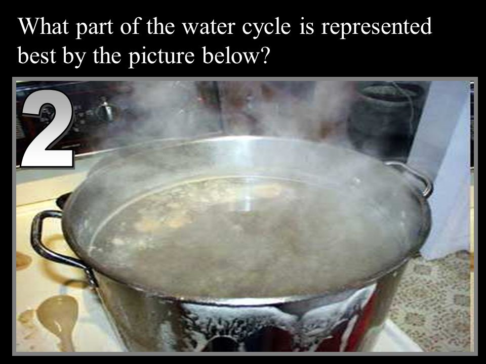 What part of the water cycle is represented best by the picture below 2