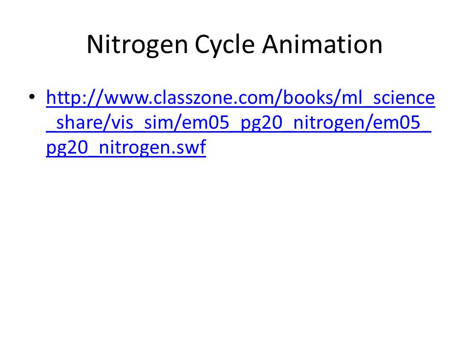 Nitrogen Cycle Animation http://www.classzone.com/books/ml_science _share/vis_sim/em05_pg20_nitrogen/em05_ pg20_nitrogen.swf http://www.classzone.com/books/ml_science _share/vis_sim/em05_pg20_nitrogen/em05_ pg20_nitrogen.swf