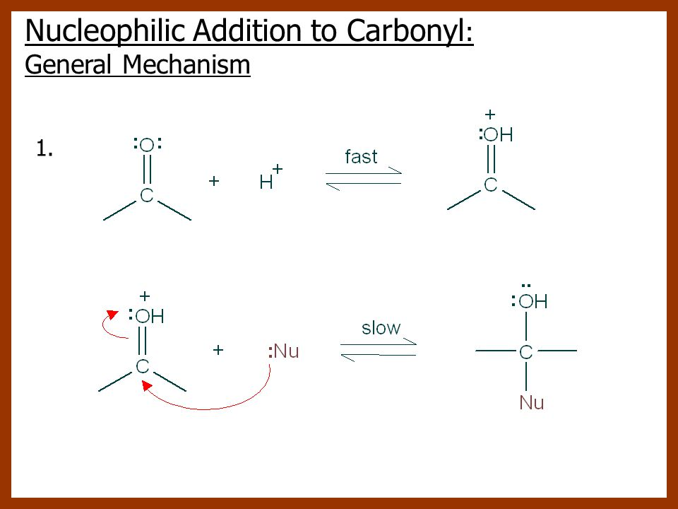 1. Nucleophilic Addition to Carbonyl : General Mechanism
