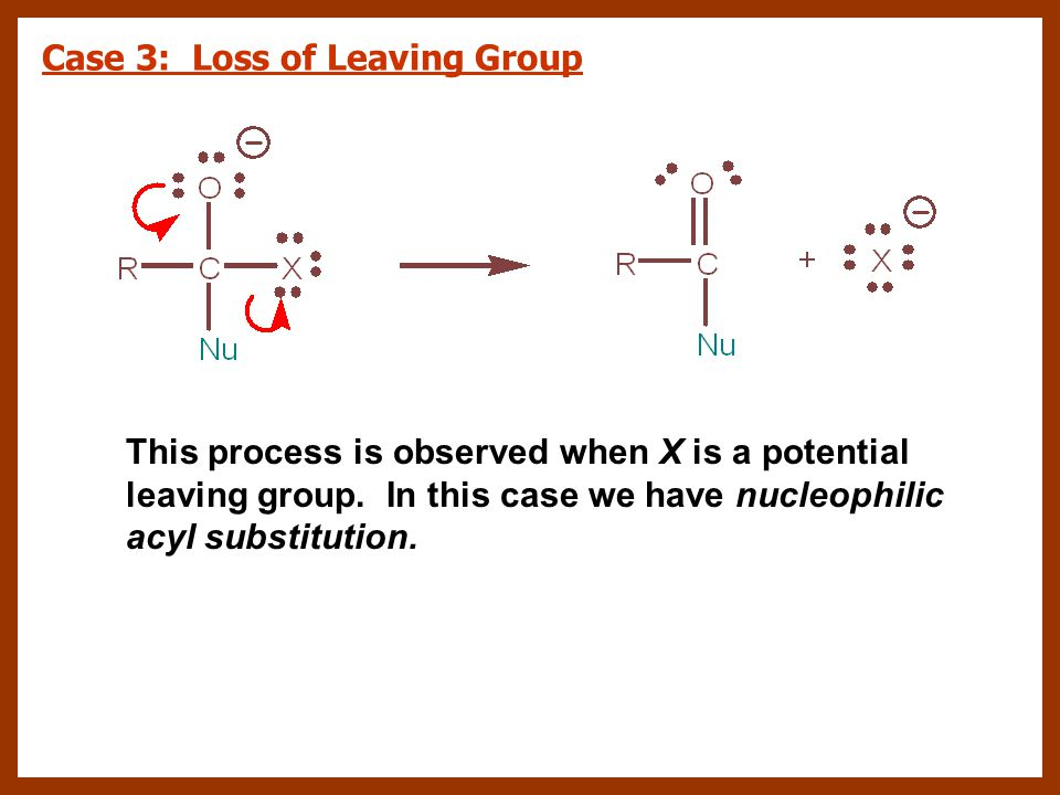 Case 3: Loss of Leaving Group This process is observed when X is a potential leaving group. In this case we have nucleophilic acyl substitution.